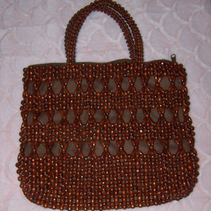 Handbags - Dark Brown Wood Bead Purse